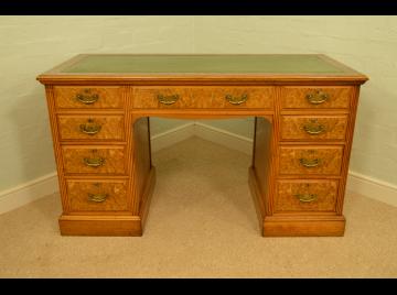 Edwardian Burr Walnut Kneehole Desk