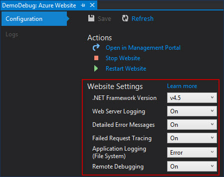 Habilitar logs Azure Web Site