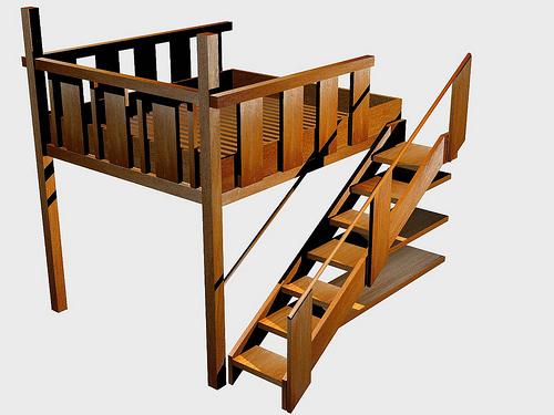 das hochbett aus holz erm glicht eine kreative raumgestaltung. Black Bedroom Furniture Sets. Home Design Ideas
