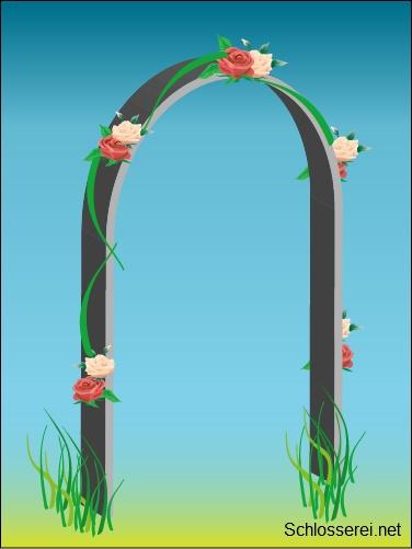 Ein Rosenbogen aus Edelstahl kann mit verschiedenen Ornamenten und ...
