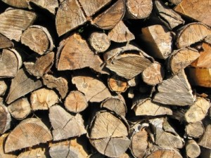 Brennholz beim Trocknen