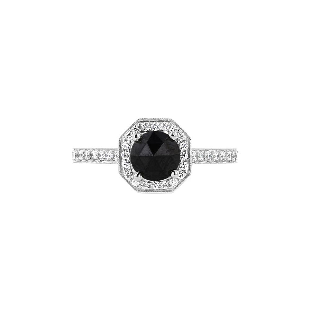 Platinum & Black Diamond Halo Engagement Ring Designed by Engage