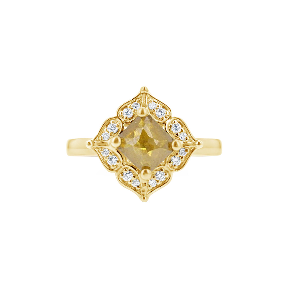 18K Yellow Gold & Brown Diamond Halo Engagement Ring Designed by Engage