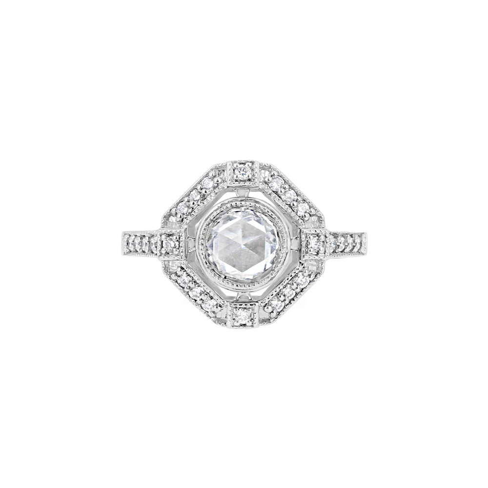 19K White Gold & rosecut Diamond Halo Solitaire Ring Designed by Engage
