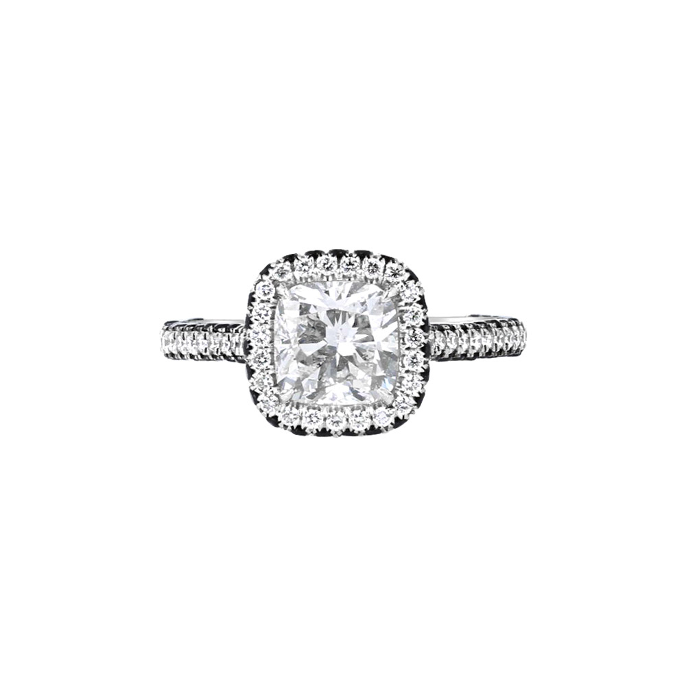 18K White Gold & 1.50 CT Diamond Halo solitaire, engagement Ring Designed by Engage