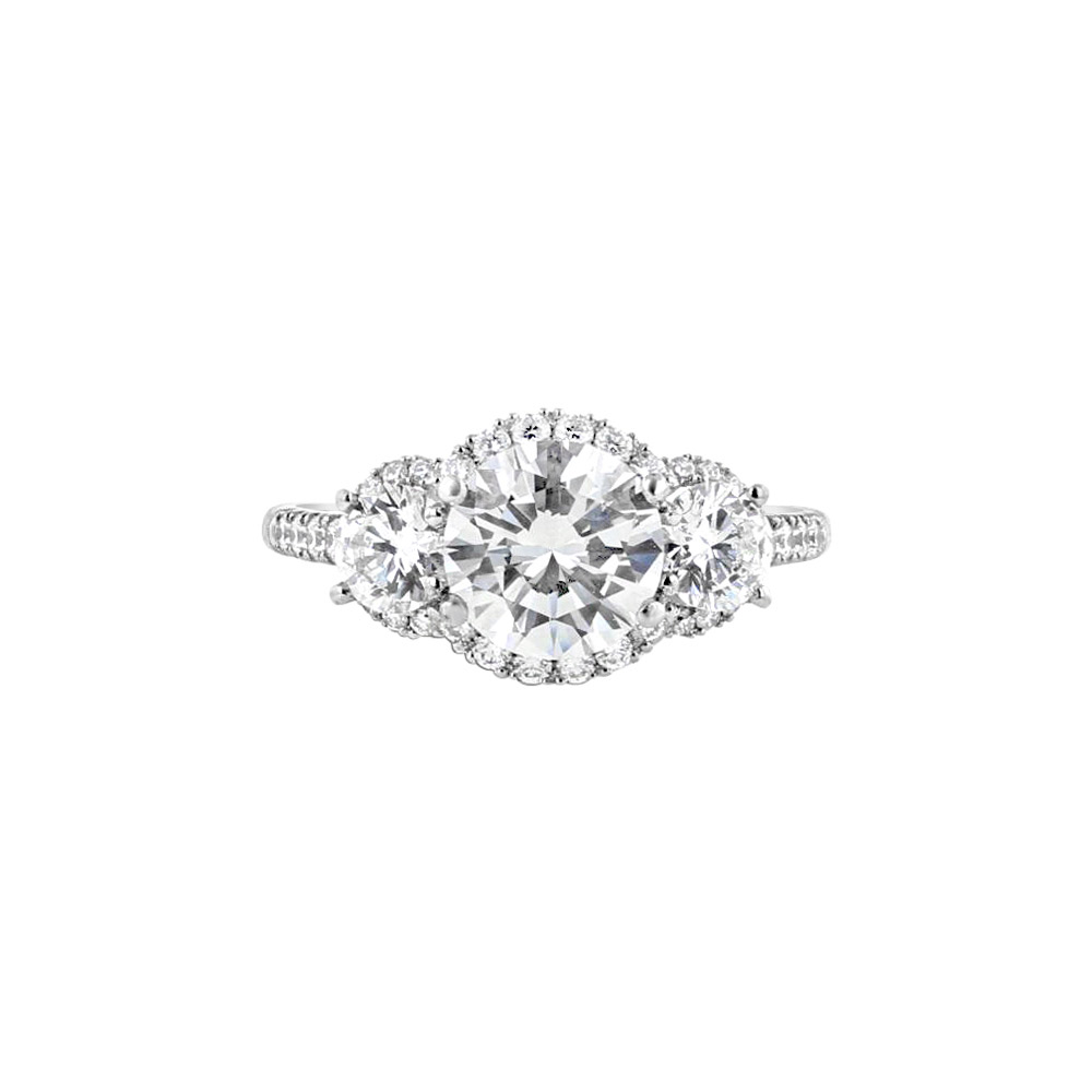Platinum with Diamond Three Stone Halo Engagement Ring