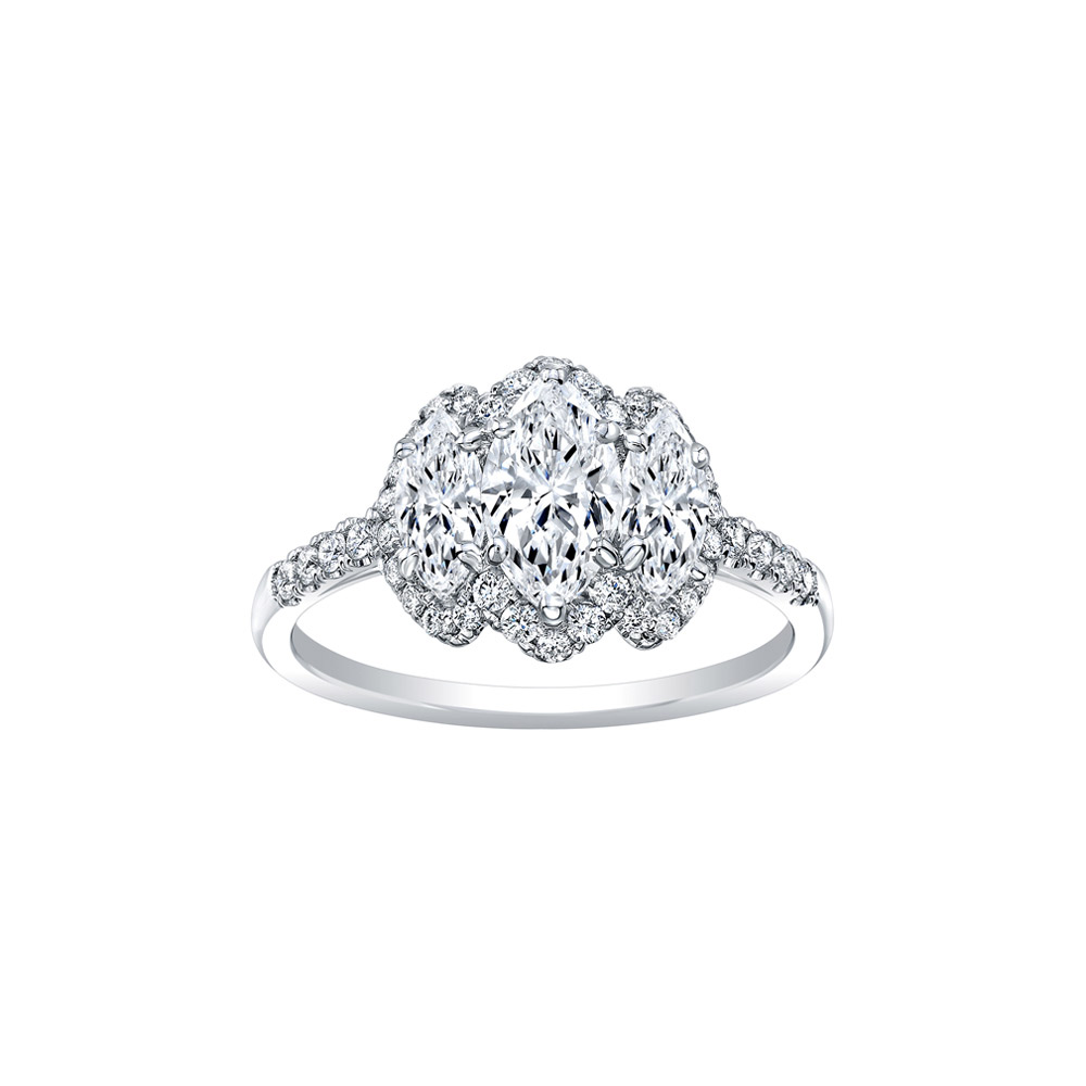 18K White Gold with Diamond Marquise Three Stone Engagement Ring