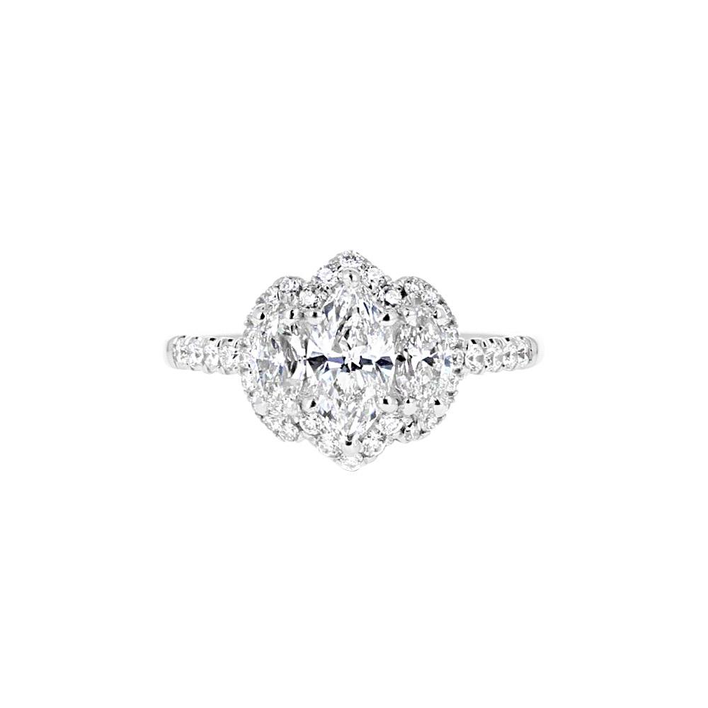 18K White Gold with Diamond Three Stone Engagement Ring