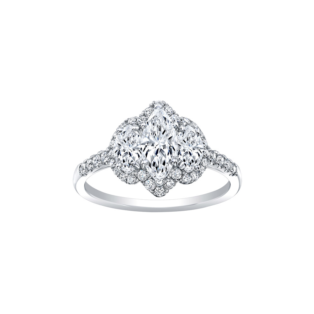 18K White Gold with Diamond Triple Marquise Engagement Ring