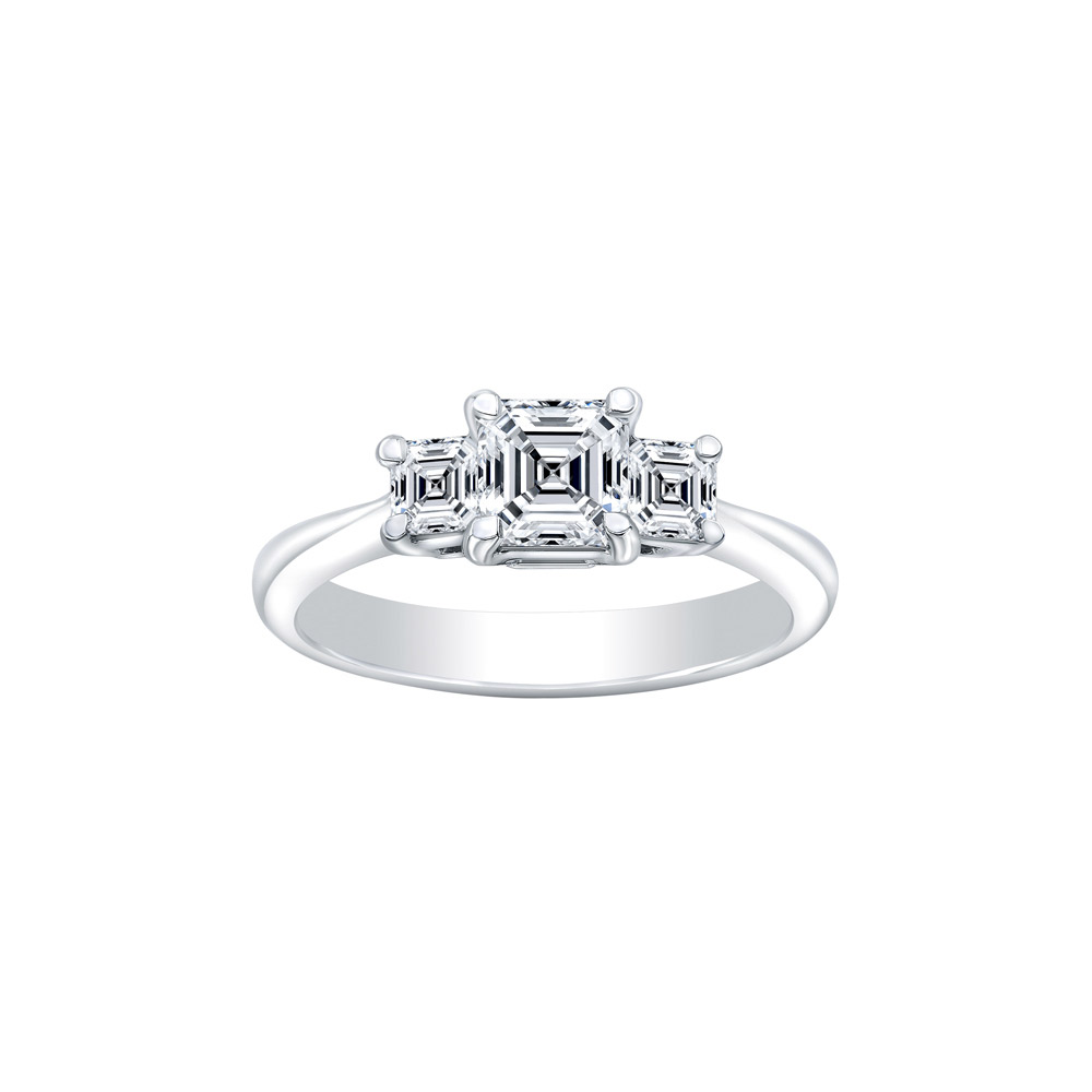 Platinum AGS Graded Asscher Cut Diamond, Three Stone Engagement Ring