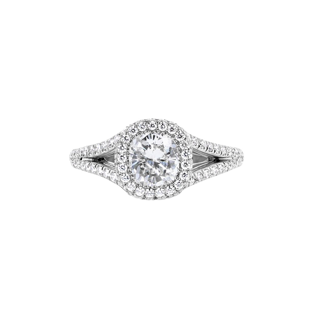 Platinum & 1.01CT GIA Graded Diamond Solitaire Halo Engagement Ring Designed by Engage