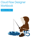 A view of the cover of the Winter '15 Cloud Flow Designer Workbook