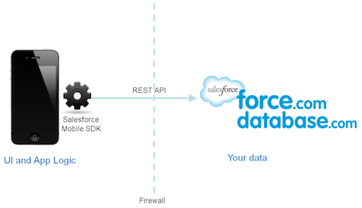 Salesforce-based 2-tier architecture for enterprise mobile apps