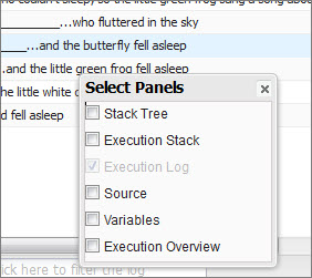 Developer Console - Log Inspector - Select Panels