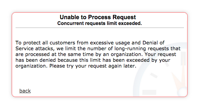 Unable to Process Request: Concurrent Requests Limit Exceeded