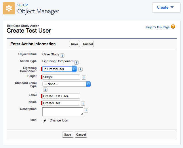 Create Test User Lightning action
