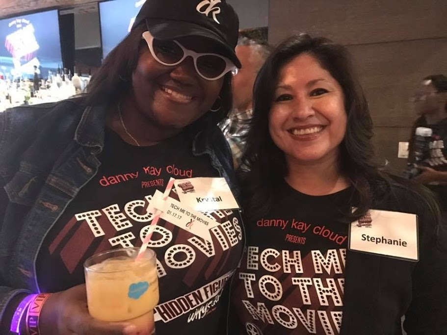 Organizer Krystal Carter (left) and panelist Stephanie Herrera (right) at Tech Me to the Movies STEM event in Houston