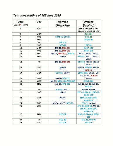 Tentative Routine of TEE June 2019
