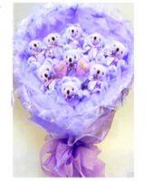 9 Purple Bear Bouquet