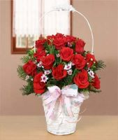 16 red roses basket