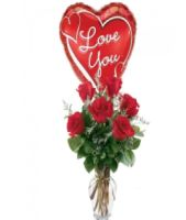 6 Red Roses Flowers And Balloons