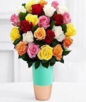 24 Mixed Roses Vase