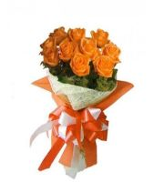 12 Orange Roses Bouquet