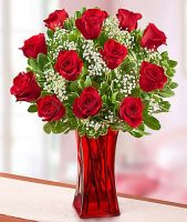 Blooming Love Premium Red Roses in Red Vase