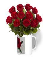 Custom Mug with 12 Red Roses (Upload your own design!)