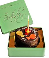 Dessert Sacher cake Happy Birthday with candle