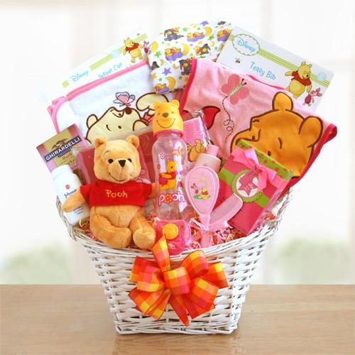 Winnie The Pooh Baby Girl Basket