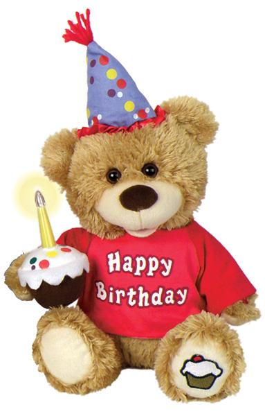 Happy Birthday Light Up Candle Plush Bear