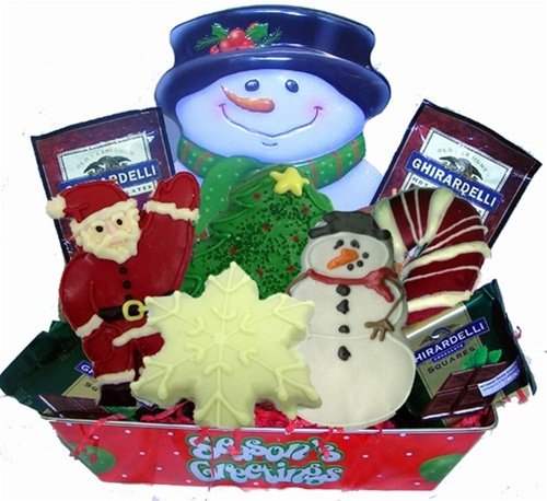 Snowman Card Holder Gift Tin, Hand Dec.