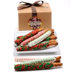 Christmas Belgian Chocolate Pretzel Wands- Gourmet Gift Box