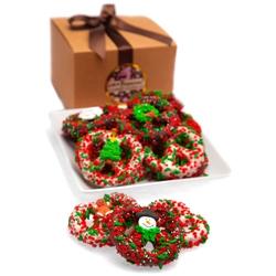 Christmas Belgian Chocolate Pretzel Twists- Gourmet Gift Box