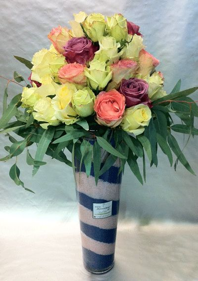 Roses arrangement  40 stems  Big Headed Ecuador  vase  colored sand decoration
