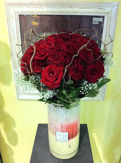 40 red roses bouquet A quality Dutch gift wrapped with greens  Vase