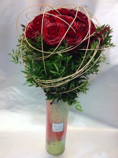 Design bouquet 21 red roses Extra Quality Dutch  Vase