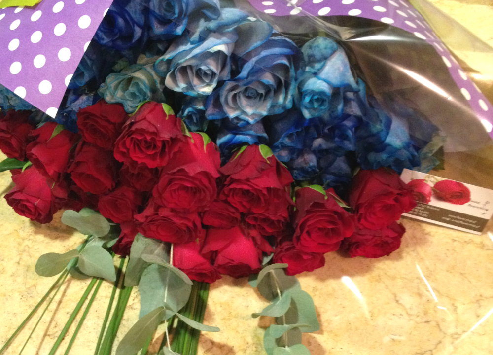 Blue And Red Roses 50 total stems exclusive  only for ATTICA REGION GREECE