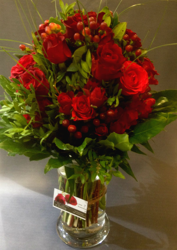 Design bouquet 51 red roses Extra Quality Dutch  Colored Water  Vase