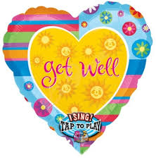 get well soon Singing Balloon inflated with helium