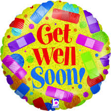Get well soon Balloon inflated with helium