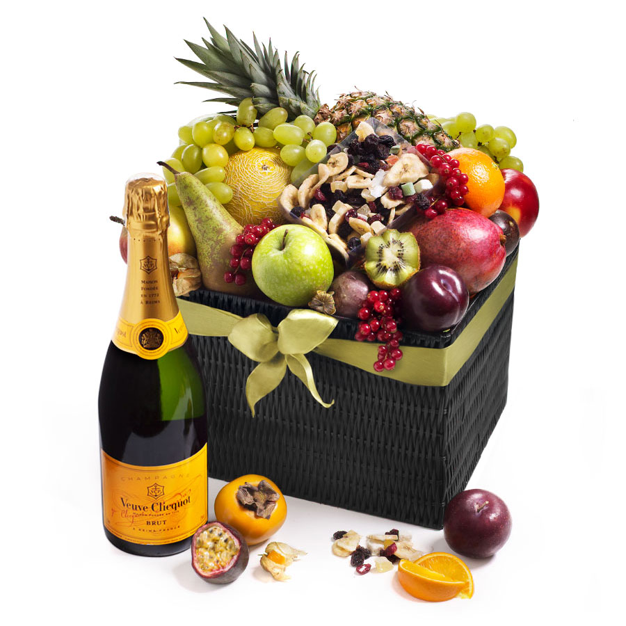 Seasonal Deluxe Exotic Fruit Hamper And Veuve Clicquot