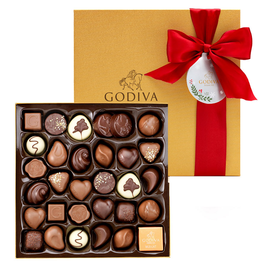 Godiva Christmas Decorated Gold Box 34 pcs
