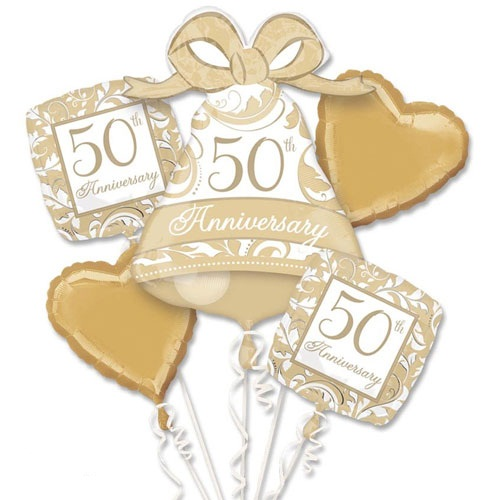 Gold Scroll 50th Anniversary Balloon Bouquet