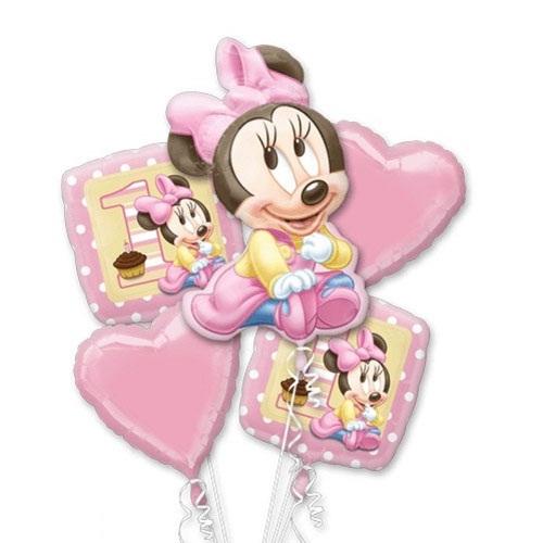 Minnie 1st Birthday Girl 5 Balloon Bouquet