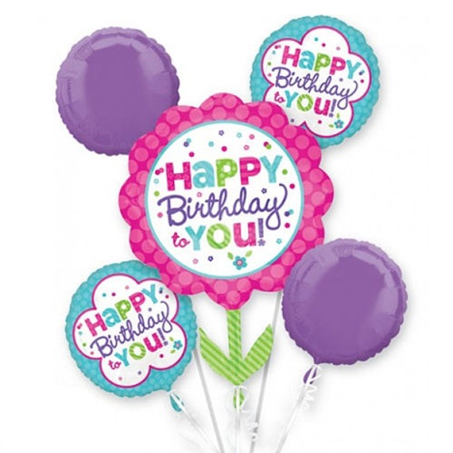 Pink And Teal Birthday Balloon Bouquet