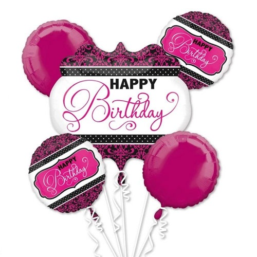 Pink Black White Birthday Balloon Bouquet