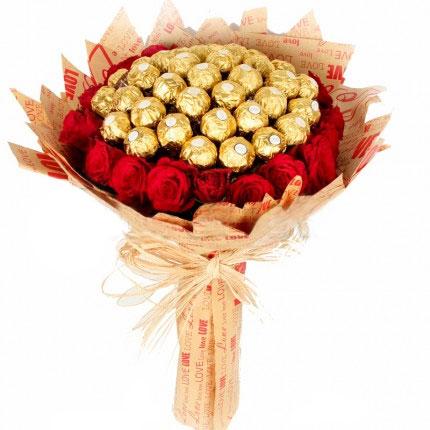 Luxury Ferrero And Red Rose Bouquet
