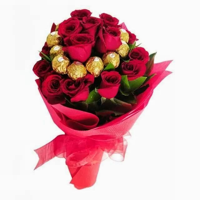Ferrero And Red Rose Bunch